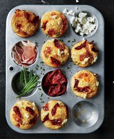 Corn Muffins with Prosciutto, Sun-Dried Tomatoes, and Goat Cheese | Salty, umami-packed prosciutto and creamy, tangy goat cheese lend loads of flavor to the tender corn muffin base. You can use domestic ham instead of prosciutto, if you prefer. We find oil-packed sun-dried tomatoes to be softer than those without oil, so they're better in this dish.