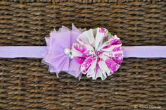 Lavender and Pink Ballerina and Tulle Flower Headband- Baby- Toddler- Photo Prop