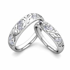 Create Vintage inspired Wedding Rings for Him and Her with Diamonds and Gemstones