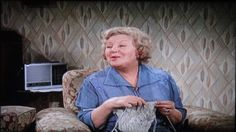 On The Buses (Movie) - 1971. Doris Hare as Mum knitting.