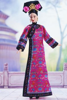 Barbie® doll celebrates the royal glamour of the Far East in this exquisite ensemble. Traditional gown features an exotic floral pattern and is inspired by the wardrobe of the Qing dynasty. Spectacular face paint, an elaborately designed hairstyle, and golden drop earrings and crown create a truly regal vision. Packaging features educational information about the region and history of China.