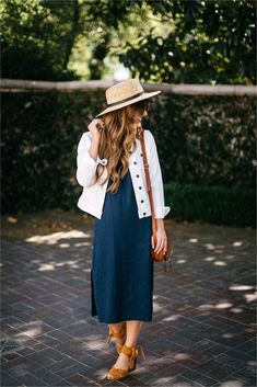 how to style a slip dress, splendid navy midi slip dress, cognac suede shoes, boater hat, chloe drew bag, spring outfit