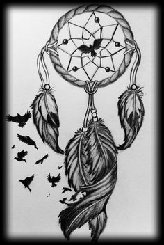 dream catcher with birds drawing
