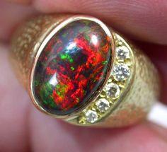 OPAL DEALERS 18 K BLACK OPAL RING SIZE 13  black opal ring, opal  18 k gold  ring, gem opal  ring, fire opal ring