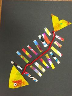 Fine lines: first grade fish collage art projects kids, summer art projects, school Fish Collage, Art Du Collage, Painting Collage, Painting Canvas, Projects For Kids, Crafts For Kids, Arts And Crafts, Easy Projects, School Projects