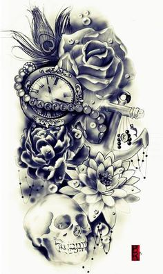 rose, other flowers, skull, peacock feather, pocket watch, anchor