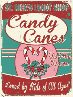 Candy Canes | Christmas Metal Signs | Tin Signs Sales | American Made Tin Signs