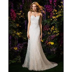Lanting+A-line/Princess+Wedding+Dress+-+Ivory+Court+Train+Sweetheart+Lace+/+Tulle+–+USD+$+249.99