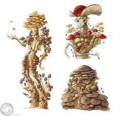 Tower of the Archmage: Sunday Inspirational Image: Mushroom Dryads Mythical Creatures Art, Magical Creatures, Fantasy Creatures, Fantasy Character Design, Character Art, Dnd Art, Mushroom Art, Art Inspiration Drawing, Fairytale Art