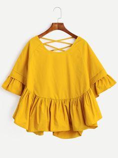 Blusa manga con volantes con espalda de tiras cruzadas - amarillo