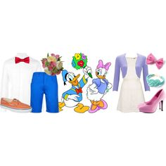 A fashion look from March 2013 featuring cream dress, shrug cardigan and high heel shoes. Browse and shop related looks. Disney Inspired Fashion, Inspired Outfits, Daisy Duck Party, Daisy Costume, Clever Costumes, Donald And Daisy Duck, Disney Bound Outfits, Mickey Mouse Parties, Disney Bounding