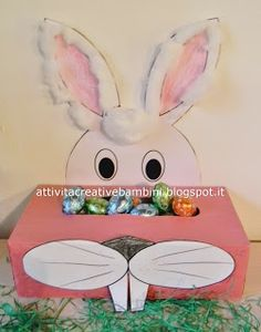 Attività Creative Per Bambini: Scatola coniglio portaovetti Diy And Crafts, Crafts For Kids, Arts And Crafts, Spring Crafts, Holiday Crafts, Happy Easter, Easter Bunny, Diy Adult, Girl Scout Crafts