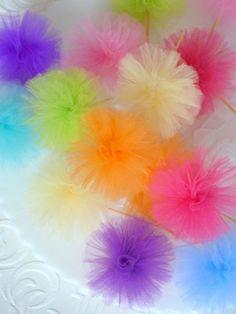 Tulle Pom Pom Party Picks - Light & airy like a little cloud!