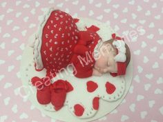 Baby Girl in Sunday Dress/Christening Baby Cake Topper with Blanket/Baby Shower, Birthday, Baptism, Cake Topper