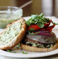 Grilled Portobello Burgers with Pesto Mayo recipe