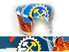 Happy Hammer  - Transparent Acrylic Bracelet Cuff Bangle with hand-printed art graphic image