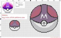 Master Ball Pokemon free cross stitch pattern