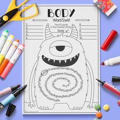 English ESL Kids Face and Body Word Swirl Activity Worksheet