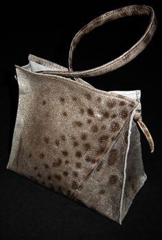 Shoulder bag. Made from spotted catfish by Icelandic designer Dísa