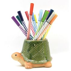 Adorable Green Turtle Pen Holder. Turtle school supplies for girls. Gifts For Girls, Girl Gifts, Gifts For Her, Dinosaur Age, Unique Gifts, Best Gifts, Turtle Gifts, Desktop Decor, Kawaii Shop