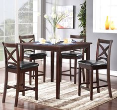 """Milo  Counter Height  Table and 4 Chairs   $449.00     Table 42"""" x 42"""" x 36"""" H        Chair 18"""" x 20"""" x 40"""" H   ADAM D1435"""