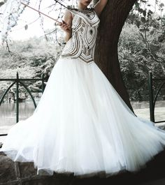 White Mermaid Cut Net Embroidered Gown By Megha And Jigar