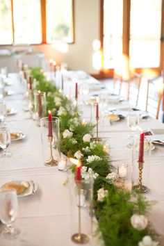 White floral centerpiece with greenery and candles for forest or garden themed wedding reception - Courtney Inghram Ashton Creek Vineyard Richmond Virginia Wedding Florist Winery Wedding Venues, Wedding Reception, October Wedding, Fall Wedding, White Floral Centerpieces, Dusty Rose Bridesmaid Dresses, Greenery Garland, Richmond Virginia, Ceremony Backdrop