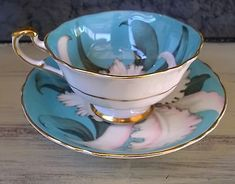 Paragon Blue Large Mouth Tea Cup &Saucer Set with Huge Orchid in Pottery & Glass, Pottery & China, China & Dinnerware, Paragon | eBay