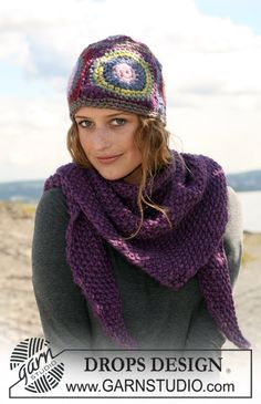 "DROPS crochet hat and knitted shawl in moss st in ""Eskimo"". ~ DROPS Design"