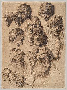 Jacob de Gheyn II, Study of eleven heads. The Metropolitan Museum of Art Rembrandt, Drawing Sketches, Art Drawings, Black Crayon, Drawing Studies, Dutch Painters, Old Master, Vintage Wall Art, Gravure