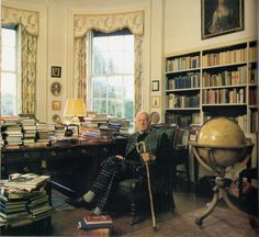 The home library drawing room and study of Strachur House in Argyll Scotland with the late Sir Fitzroy McClean pictured in his study with world globe. Library Drawing, Drawing Room, Desk Globe, Mini Desk, Beautiful Library, Travel Route, Georgian Homes, Home Libraries, World Globes