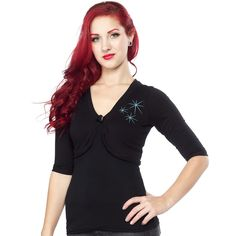 DRESSED TO KILL ATOMIC SHRUG:  Medium weight knit blend. Made in the USA. Style runs small.  $54