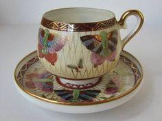 Old Nippon Kutani 19th century   Porcelain, Teacups China,   Butterflies