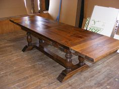 Draw Leaf Extension Dining Table Dark Pine Finish With 2 Inch Thick Top…
