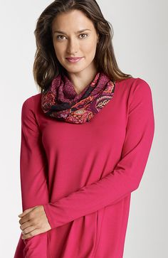 Shoes & Accessories > paisley geo silk infinity scarf at J.Jill