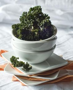 kale chips - just a little olive oil with salt and pepper! yum!