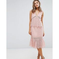 Foxiedox V Neck Lace Ruffle Midi Dress ($48) ❤ liked on Polyvore featuring dresses, pink, pink lace dress, pink dress, lace cut out dress, lace cut-out dresses and cutout dresses