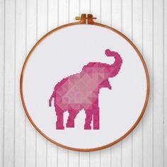 Geometric Elephant cross stitch pattern in pink colors nursery room decor