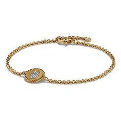 David Yurman 'Petite Pave' Hamsa Bracelet with Diamonds in 18K Gold (13 920 ZAR) ❤ liked on Polyvore featuring jewelry, bracelets, gold, diamond bangle, pave diamond bangle, lobster clasp charms, 18k gold bangle and gold diamond bangle