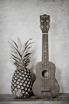 Still Life Fine Art Photo, Pineapple, Ukulele, Hospitality, Grunge Black and White, Hawaiian, Musical Instrument, Home Decor, 8x12 Print. $30.00, via Etsy.