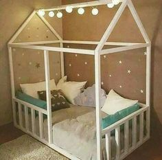 Toddler house bed with safety rails