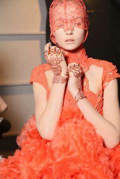 highfashionsproperty:    Siri Tollerod at Alexander McQueen Spring/Summer '2012 backstage.