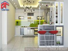 Tủ bếp đẹp kết hợp quầy bar gia đình sang trọng TBX111