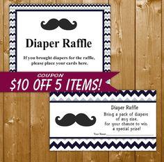 Mustache Diaper Raffle invitation Insert, Navy Blue, Baby Shower Diaper Raffle, Boy Baby Shower, ST003B, Instant Download