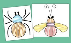 Small Section Graphics Vertical and Horizontal Strokes: Decoration of insects with the help of strokes. Progression towards control of laterality and development of fine motor skills in children. Trait Vertical, Spring Theme, Little Critter, Fine Motor Skills, Projects For Kids, Art Education, Art For Kids, Cool Art, Decoupage