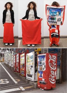This dress was designed by a 29-year-old Japanese fashion designer with the hope to ease Japan's growing fear of crime. Japanese women can disguise themselves as vending machines to hide from attackers in dangerous situations