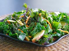 Raw Greens, Apple, and Carrot Salad w/ Warm Maple-Mustard Vinaigrette