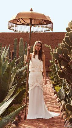bhldn spring 2017 bridal sleeveless jewel neckline lightly embellished 2 piece elegant bohemian column wedding dress short train (allegra) mv -- BHLDN's Neo-Bohemian Wedding Dresses
