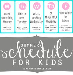 love this summer schedule for kids! Or weekend activity ideas