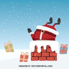 Santa in a chimney vector illustration.